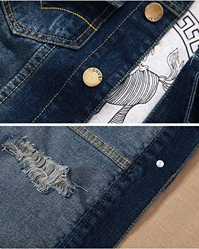 Denim Jacke Herren Retro Ripped Trucker Jeansjacken Denim Blau