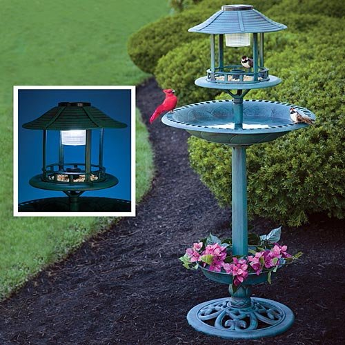 Bits And Pieces - Luxury Bird Spa - Solar Garden Lamp, Bird Feeder, Birdbath And Planter - Garden Décor