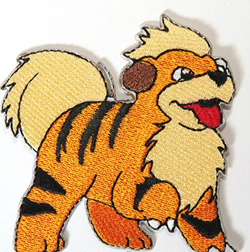 Growlithe Pokemon Patch Embroidered Iron on Badge Aufnäher Kostüm Fancy Kleid Welpe Pokémon Cosplay (Team Rocket Meowth Kostüm)