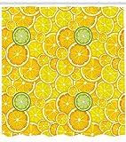 Abakuhaus Duschvorhang, Zitrone Orange Limes Citrus in Beschnittenen Kreisen in Verschieden Größen Bild Druck, Blickdicht aus Stoff inkl. 12 Ringe für Das Badezimmer Waschbar, 175 X 200 cm