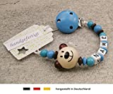 Baby SCHNULLERKETTE mit NAMEN | Schnullerhalter mit Wunschnamen - Jungen Motiv Bär in natur, blau
