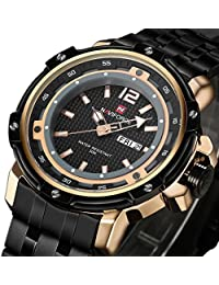 Tonnier Military Sports Man Watches Date&Week Stainless Steel Mens Watches,Rose Gold