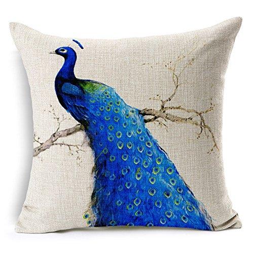 MAYUAN520 Decorative Pillows Blue Peacock Pillow Cover Geometric