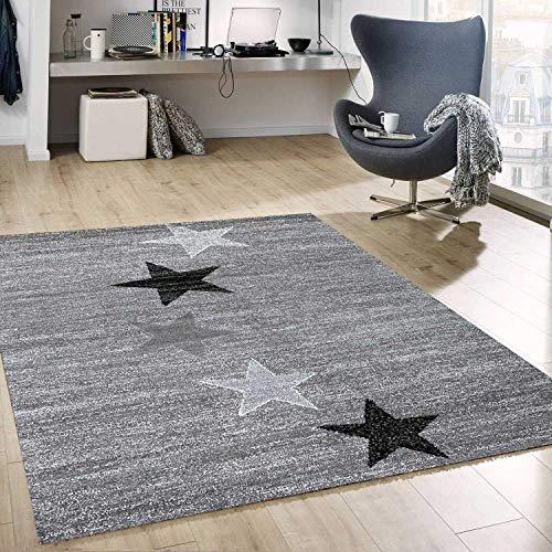 Teppich Modern Design Grau Schwarz Weiß Kurzflor Stern Muster Pflegeleicht Top Qualität 160x230 cm