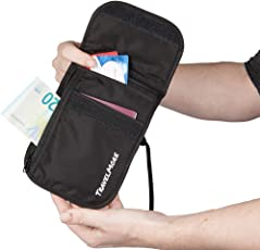"""TravelMore Travel Neck Pouch for Men and Woman €"""" RFID Blocking €"""" Secure Anti Theft Hidden Hanging Stash Wallet with Neck Strap - Black"""