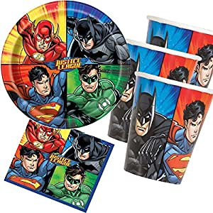33 teiliges partyset justice league superhelden mit. Black Bedroom Furniture Sets. Home Design Ideas
