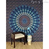 Handicrunch QUEEN BLUE HIPPIE TAPESTRY INDIAN BEDSPREAD MANDALA WALL HANGING Boho Chic Decor