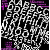 """Profesional juego de 122unidades x 1""""(2.5cm) autoadhesivo plateado letras y números pegatinas libre signos de puntuación Washproof grandes letras SignWriting cualquier proyecto a prueba de agua"""