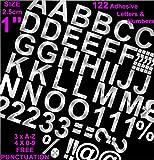 Profi-Pack von 122PCS X 2,5cm (2,5cm) Selbstklebende Silber Buchstaben und Zahlen Aufkleber gratis Interpunktion waschfest, große Beschriftung gebärdenschrift Wasser Proof jedes Projekt