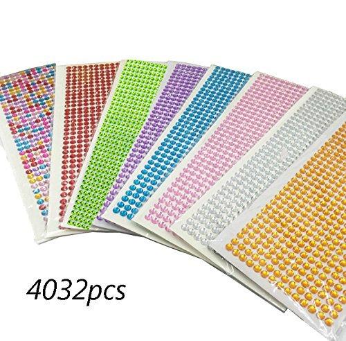 dotebpa 4032Stück 6mm Colorful Bling Strass Aufkleber Tabelle Gem Diamant, selbstklebend, für Scrapbooking Verzierungen und DIY Handwerk, Hochzeit, Decor