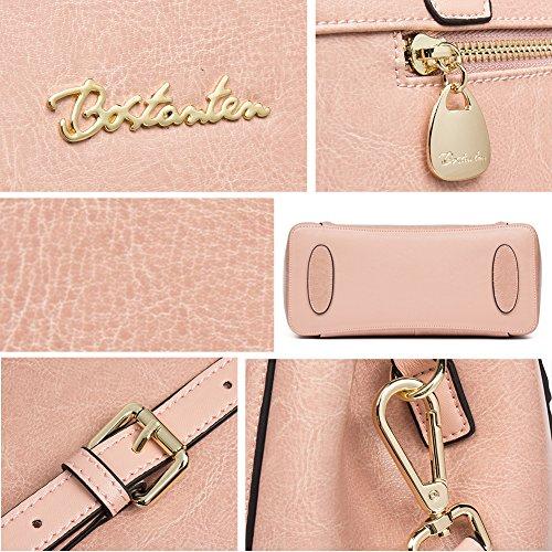 BOSTANTEN Damen Leder Schultertasche Handtasche Umhängetasche Henkeltasche Tote Bag Rosa