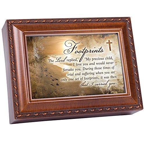 Cottage Garden Spieluhr mit Fußabdrücken, Motiv The Lord Carried You, Holzmaserung, mit Seil (Musik-schmuck-box Für Mama)
