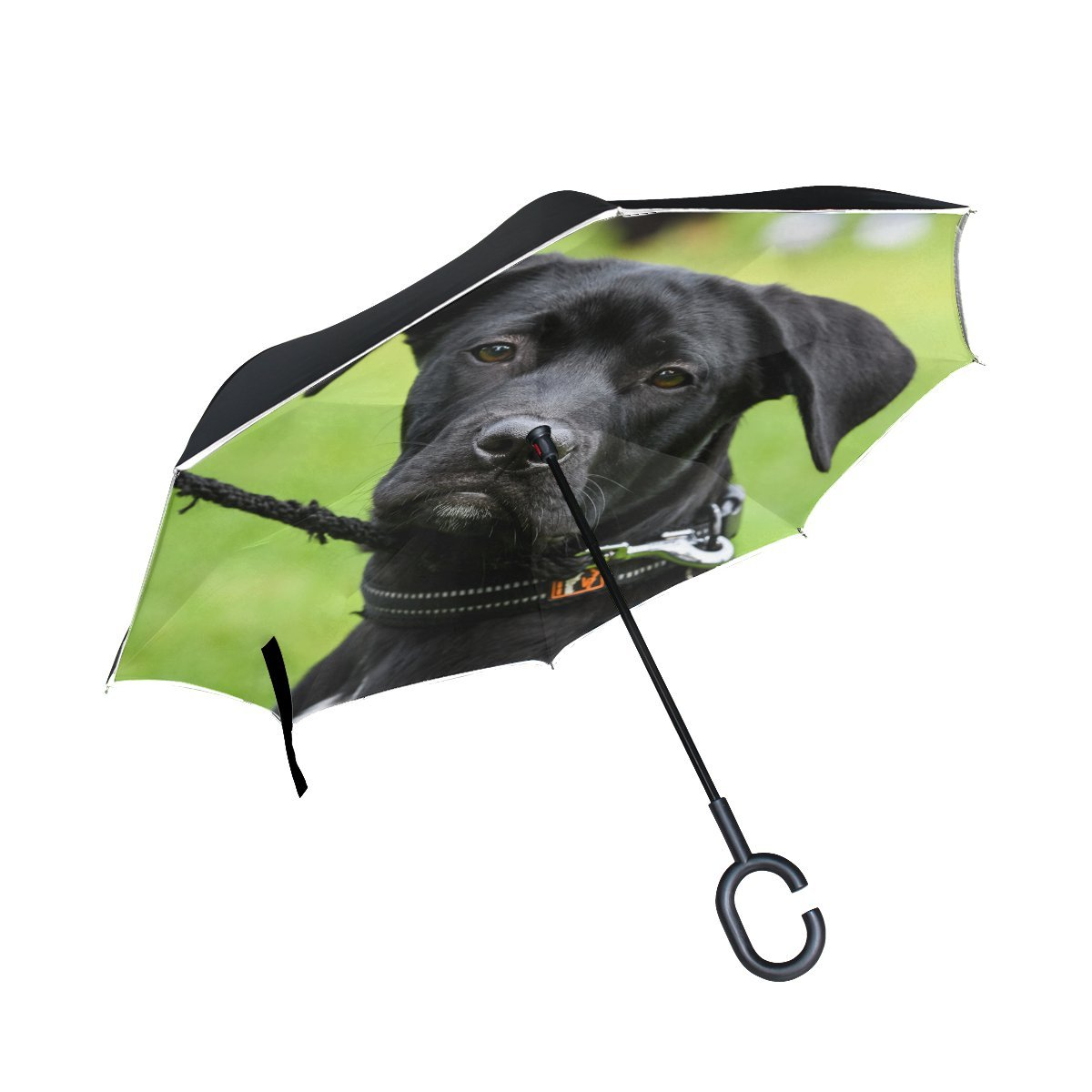 JOCHUAN Animal Dog Affenpinscher Black Pet Animated Walking Blackbeauty Inverted Umbrella Large Double Layer Outdoor Rain Sun Car Reversible Umbrella