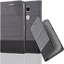 Cadorabo Coque pour Huawei Honor 5X / Play 5X / Huawei GR5 en Gris Noir - Housse Protection avec Fermoire Magnétique, Stand Horizontal et Fente Carte - Portefeuille Etui Poche Folio Case Cover