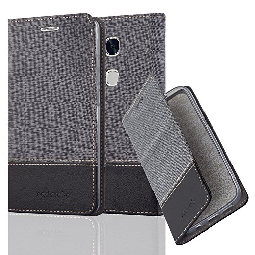 Preisvergleich Produktbild Cadorabo Hülle für Honor 5X / Play 5X / Huawei GR5 - Hülle in GRAU SCHWARZ - Handyhülle mit Standfunktion und Kartenfach im Stoff Design - Case Cover Schutzhülle Etui Tasche Book