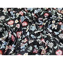 Floral Print Polyester Chiffon Kleid Stoff Multi auf Schwarz – Meterware 1cf484c2d4
