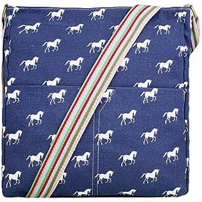 Onorevoli Cavallo Canvas borsa a tracolla scuola borsa a tracolla Saddle, (Messenger Navy), M
