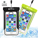 WSTOO Universal Waterproof Case With Armband and Touch ID Fingerprint,IPX8 Waterproof Phone Pouch For iPhone8/8plus/7/7plus/6s/6/6s plus Samsung galaxy s8/s7 (2-Pack) (Black + grass green)
