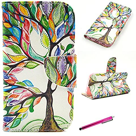 S6 Case, [Card Slots] JCmax Premium Flip Slim Side PU Leather Wallet Smart Stand Case Cover [Magnetic Closure] and Card Slots for Samsung Galaxy S6 -[Floral Tree