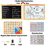 #1: MousePotato Double Sided Magnetic White & Black Wooden Board with Tangram Letters & Numbers (Large 15