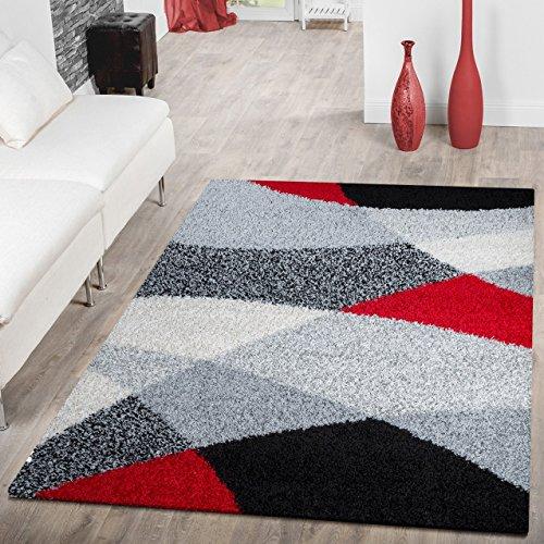 Moderner Hochflor Teppich Shaggy Vigo Gemustert in Schwarz Grau Weiß Rot Top Preis!!