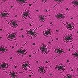 Fabulous Fabrics Alpenfleece Kuschelsweat Pusteblume – Purpur — Meterware ab 0,5m — zum Nähen von Kinderbekleidung, Strickjacken und Pullovern