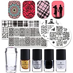 Born Pretty Nail Art Stamping Set 4Pcs Nail Stamping Plates 1Pc Jelly Silicone Stamper with 4 bottles Stamping Polish