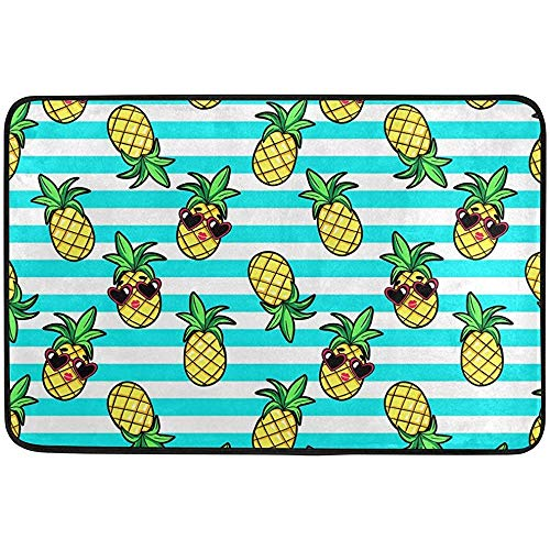 OKME Custom Ananas Sonnenbrille Sommer Fußmatte 60 x 40 cm / 23,6 'x 15,7', Wohnzimmer Schlafzimmer Küche Badezimmer Dekorative Leichtschaum Bedruckter Teppich