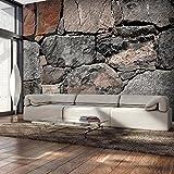 decomonkey | Fototapete Steinwand Steine 400x280 cm XXL | Design Tapete | Fototapeten | Tapeten | Wandtapete | moderne Wanddeko | Wand Dekoration Schlafzimmer Wohnzimmer | Grau Braun | FOB0191a84XL