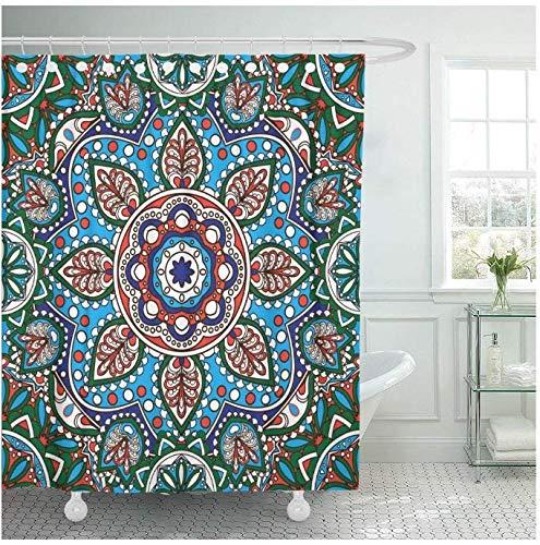 HJLHFD Tende da Doccia orientali Ornamentali Allacciate Piastrelle Geometriche Floreali Mandala Tende da Doccia Impermeabili Tende Extra Lunghe Impermeabili 180 * 200 cm