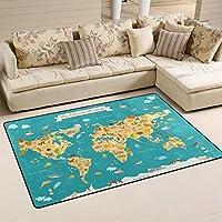 Use7 Animal Kids World Map Area Rug Rugs Non-Slip Floor Mat Doormats 100 x 150 cm(3 x 5 feet) for Living Room Bedroom