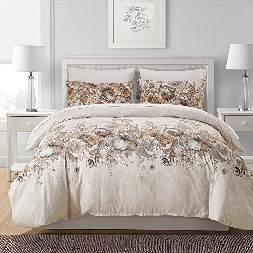 FORCHEER leicht Mikrofaser Bettbezug Set, Floral Print Muster Tagesdecke Überwurf Set, 3 teilig Oversize Quilt Set mit Kissen/Bezügen, Microfaser, Pattern #78351, Doppelbett (Microfaser Komplett Bett-set)
