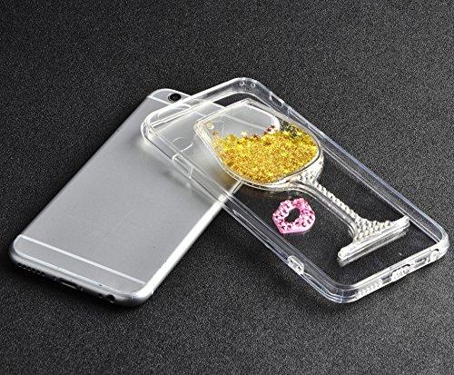 iPhone 7 Hülle, Vandot Transparent Glitzer Diamant Schutzhülle für iPhone 7 Handyhülle Glitter Bling Shining Luxus Flüssiges Liquid TPU Silikon Zurück Case Cover Dynamisch Treibsand Fließen Schwimmend Lippen Gold