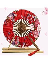 Diau Charn Vintage Japonés Sakura Flores Paraguas Plegable Paraguas Paraguas Paravientos Ventilador Cosplay Fiesta Decoración de