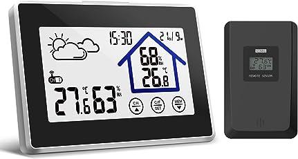 Yuanguo Wettersation Funk mit Außensensor Funkwetterstation Digital Thermometer Hygrometer mit weiße Hintergrundbeleuchtung Wettervorhersage Funkwetterstation für Innen und außen