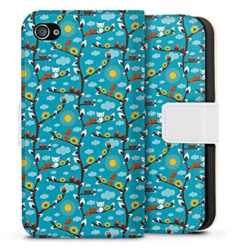 Apple iPhone X Silikon Hülle Case Schutzhülle Wolken Sonnenblumen Eichhörnchen Sideflip Tasche weiß