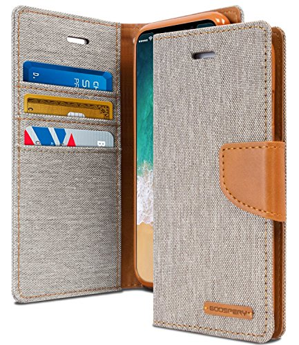 iPhone X Funda Carcasa Libro Con Tapa plegable, Gris