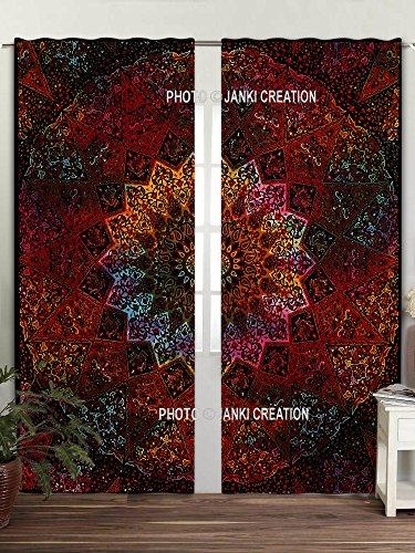 Mandala Tie Dye Star Elefant Boho Vorhang Set Volants Raumteiler 2PC Panel Set, Mandala Wandbehang, Indische Vorhänge Mandala Fenster Behandlung Door Hanging Gardinen Fall Raum Vorhang Balkon,