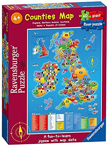 Ravensburger Counties Map, 60pc Giant Floor Jigsaw