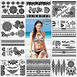 Konsait Mehndi temporäre Tätowierungs Aufkleber körperkuns Wasserdicht Temporäre Tattoo schwarz für Frauen Mädchen (10 Blatt)