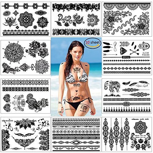 Konsait 10 fogli impermeabile pizzo mehndi tatuaggi temporanei finto tatuaggio temporaneo tattoo body art stickers per bambini adulti donna uomo (nero)