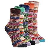 Hishiny Wollesocken, 5 Paar Damen Socken Wollsocken Baumwollsocken Stricksocken Superweiche Wollesocken für Mädchen & Frauen Warme Socken für Herbst Winter Wolle Socken