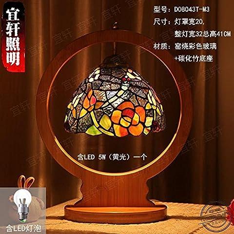 Comodino in stile europeo camera da letto soggiorno sala studio matrimonio idilliaco creative lampade retrò (Dragonfly Crema)