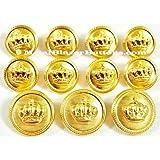 Nuevo ~ ~ de la corona dorada oro acabado METAL BLAZER botón SET ~ 11piezas Metal botón de moda para un hombre único breasted Blazer, Sport perchero, chaqueta, o uniforme ~ METALBLAZERBUTTONS. CO. UK