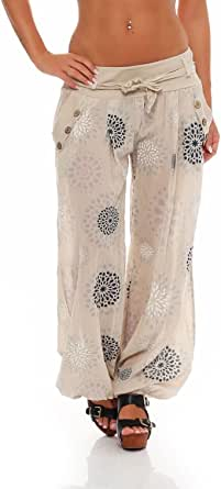Malito Harem Pantaloni con Estivo Print Boyfriend Aladin Sbuffo Pantaloni Pump Baggy Yoga 3481 Donna Taglia Unica