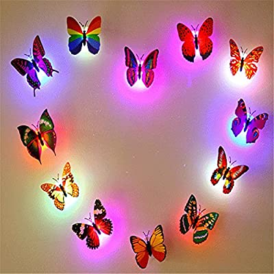 PANNIUZHE 12PCS LED small lamp Creative Flashing Colorful Butterfly Night Light Stickers Wall Stickers Lamp LED Decorative Night Lights Random produced by shenzhenshi hongyangfushi youxiangongsi - quick delivery from UK.
