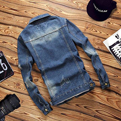 Zhhlinyuan Mode et casual 002 Men's Fashion Long Sleeve Regular Fit Denim Jacket Coat Outerwear blue