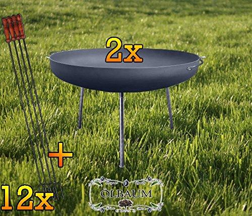 Due Grill XXL Braciere circa 100CMN + dodici grandi wuerstchen titolare 1meter lungo per barbecue grill Carbone Legno Fuoco olivo