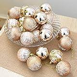 Xshuai 24 STÜCK durable Weihnachtsbaum Weihnachtskugeln Dekorationen Baubles Party Hochzeit Ornament 5 cm (Khaki)