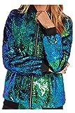 YACUN Damen Pailletten Lange Ärmel Jacke Lässig Mantel Outwear Green XL